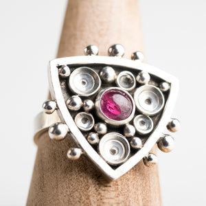 Anemone Pink Tourmaline Ring in Sterling Silver