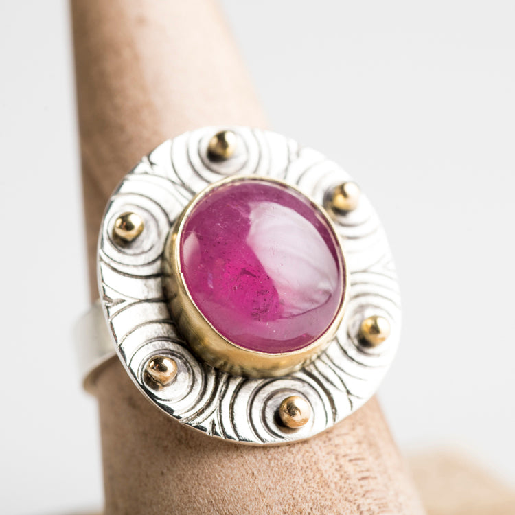 Galway Pink Sapphire Ring w/ 18k Gold & Sterling Silver, OOAK
