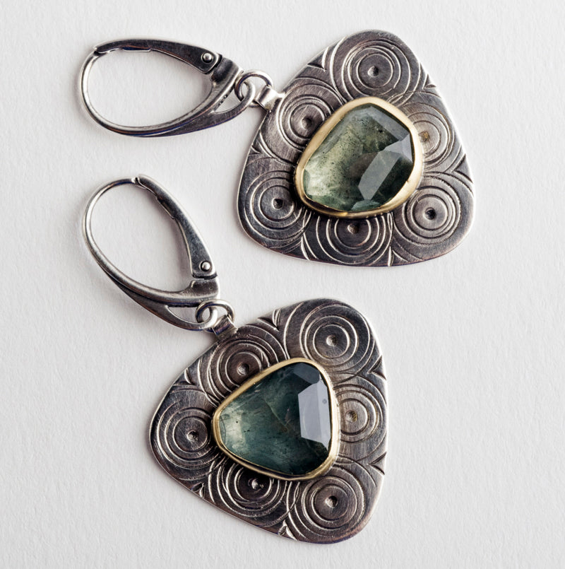 Calais earrings w/ Moss Aquamarine in Silver & Gold