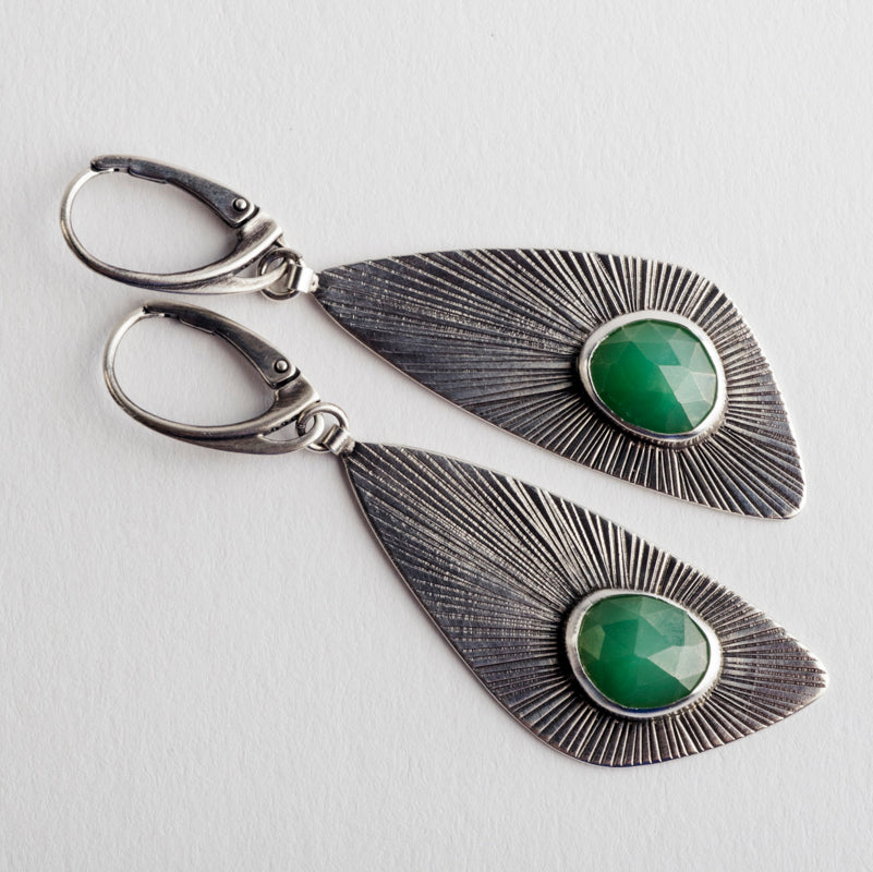 Rota Chrysoprase Wing Dangle Earrings in Silver