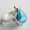 Hailey Larimar Ring w/ Silver Bezel w/ Gold Dots, OOAK