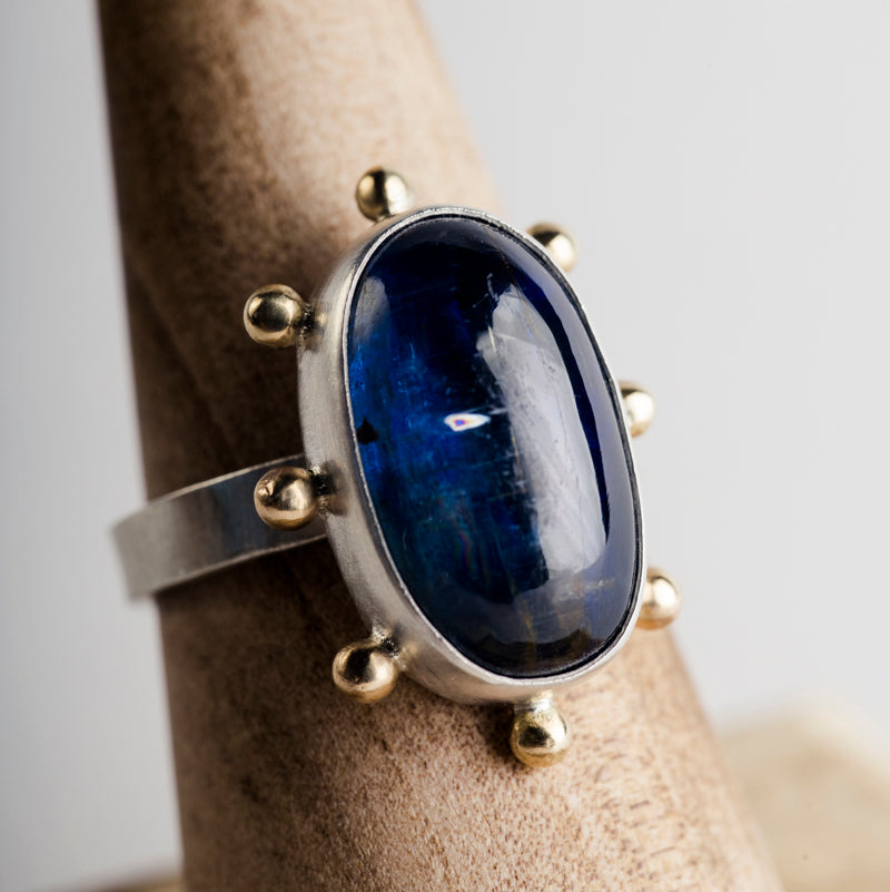 Hailey Kyanite Silver Bezel set Ring w/ Gold Dots