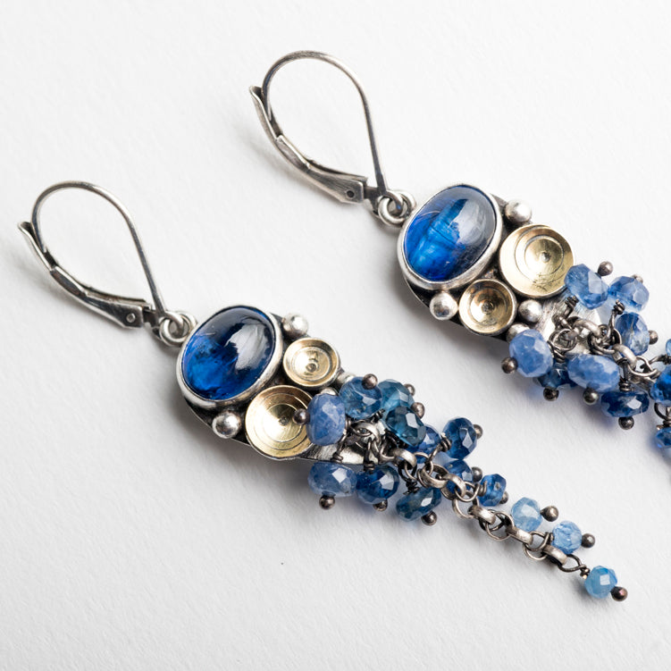 Odiel Kyanite & Sapphire Tassel Earrings in Silver and 18k Gold