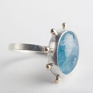 Hailey Aquamarine Silver & Gold Bezel set Ring w/ Gold Dots