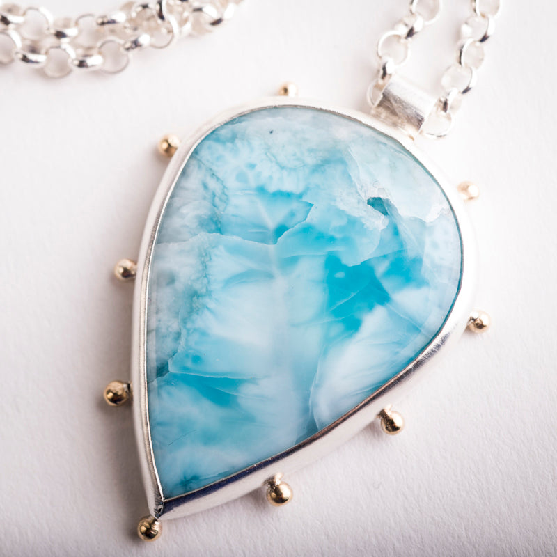 Hailey Larimar Necklace in Silver w/ Gold Granule Halo