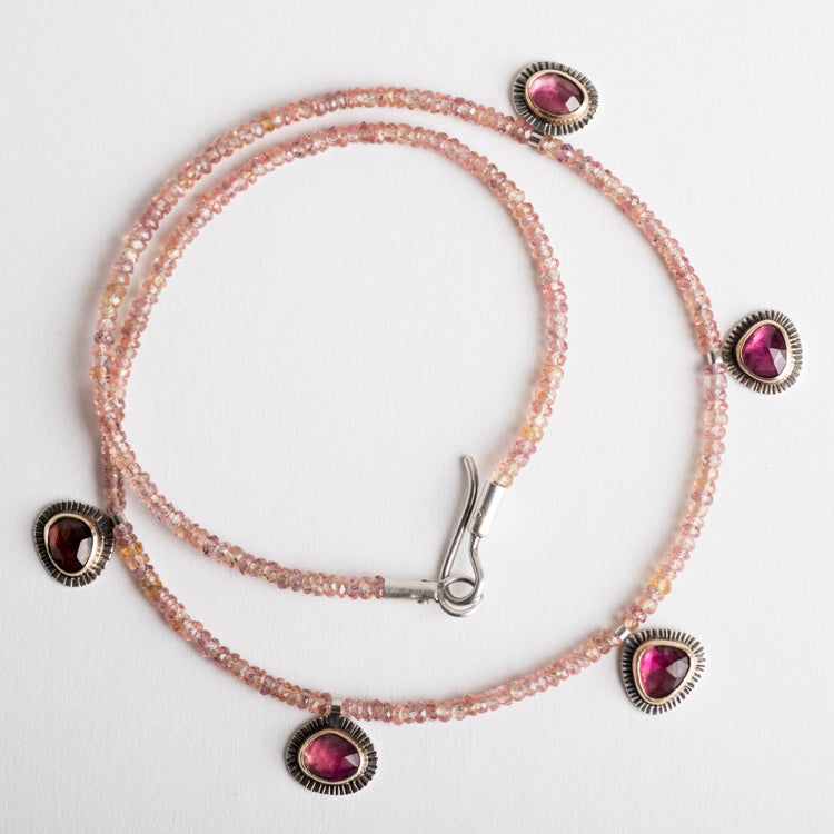 Tangier Pink Tourmaline and Orange Sapphire Necklace
