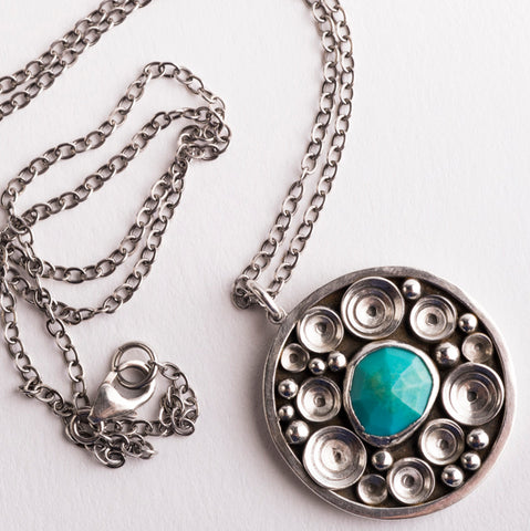 Siren Turquoise Seascape Medallion Necklace in Silver, Made to Order