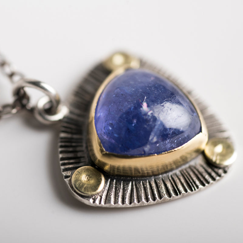 Perth Tanzanite Trillion Necklace in 18k Gold & Silver