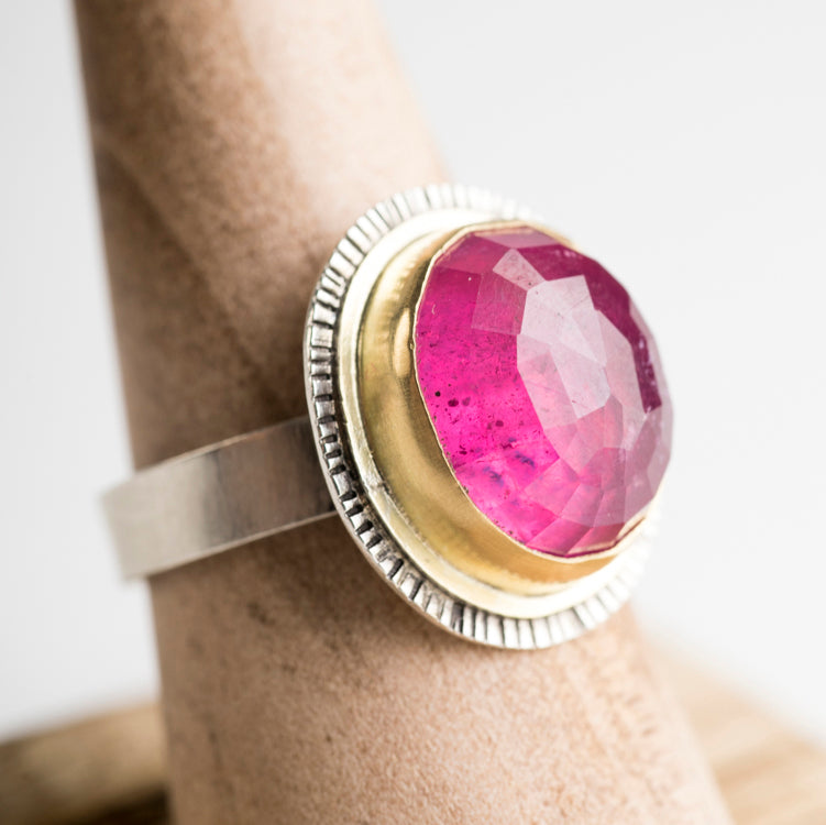 Madeira Pink Sapphire Ring in 18k Gold & Silver, One of a Kind