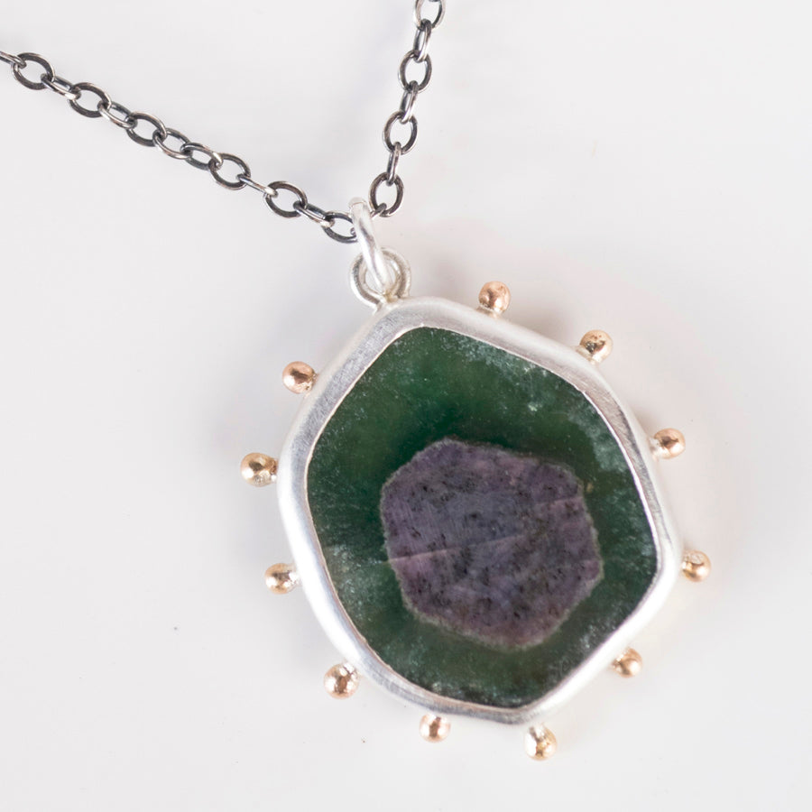 Hailey Ruby in Zoisite Pendant with Gold Granule Halo