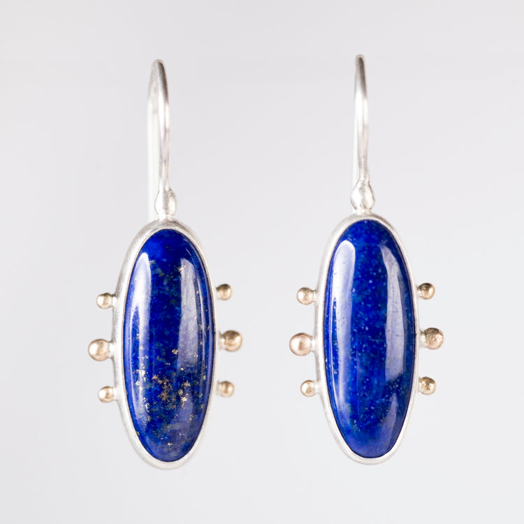 Mercury Lapis Lazuli Earrings in Silver & Gold Granule Halo