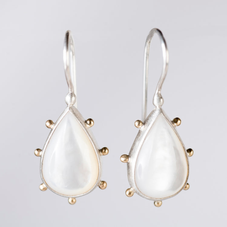 Mercury Mother of Pearl Earrings in Silver & Gold Granule Halo