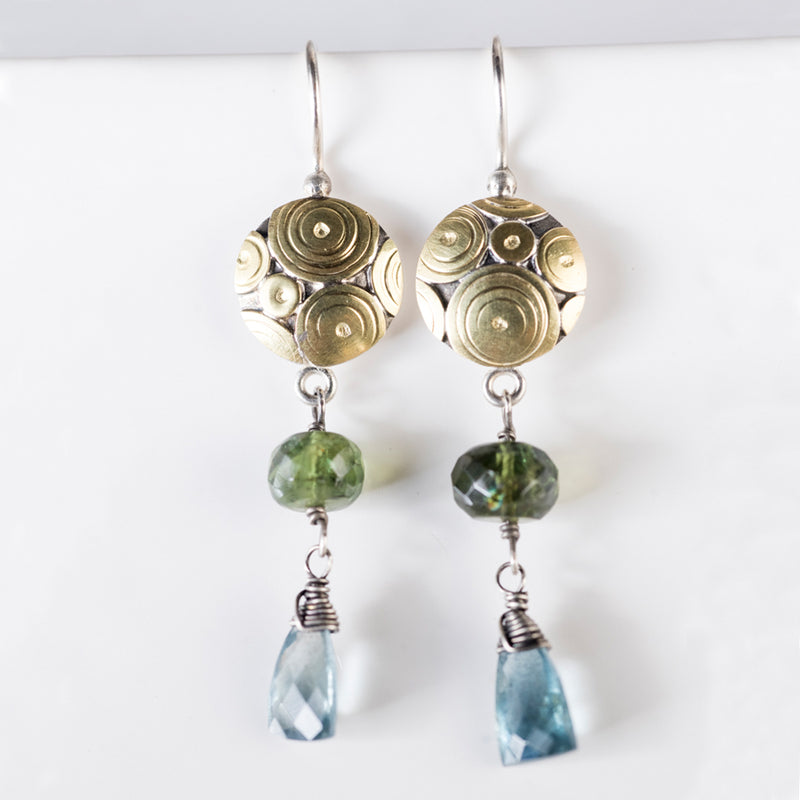 Montego Long Dangle Earrings w/ Moss Aquamarine & Green Apatite