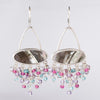 Aura Mother of Pearl & Gem Tassel Chandelier Earrings in Silver