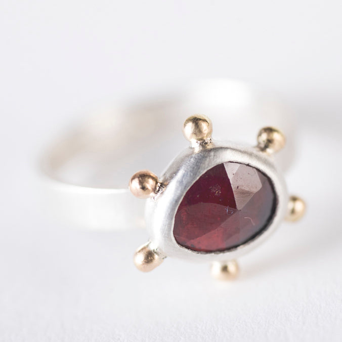 Hailey Garnet Ring w/ Gold Granule Halo- Size 5 3/4