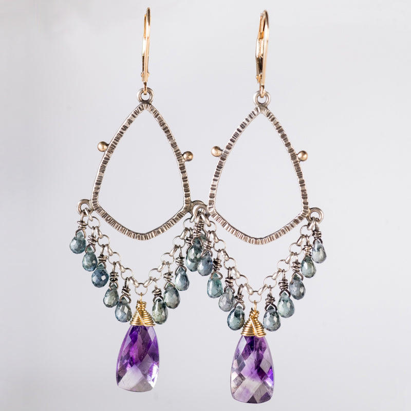 Galaxy Sapphire & Moss Amethyst Chandelier Earrings