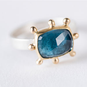 Hailey London Blue Topaz Ring in Gold & Silver - Size 7