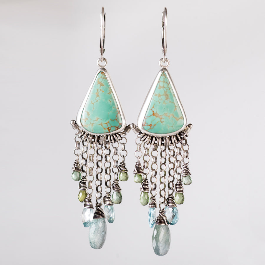Artemis Turquoise & Green and Blue Gemstone Chandelier Earrings
