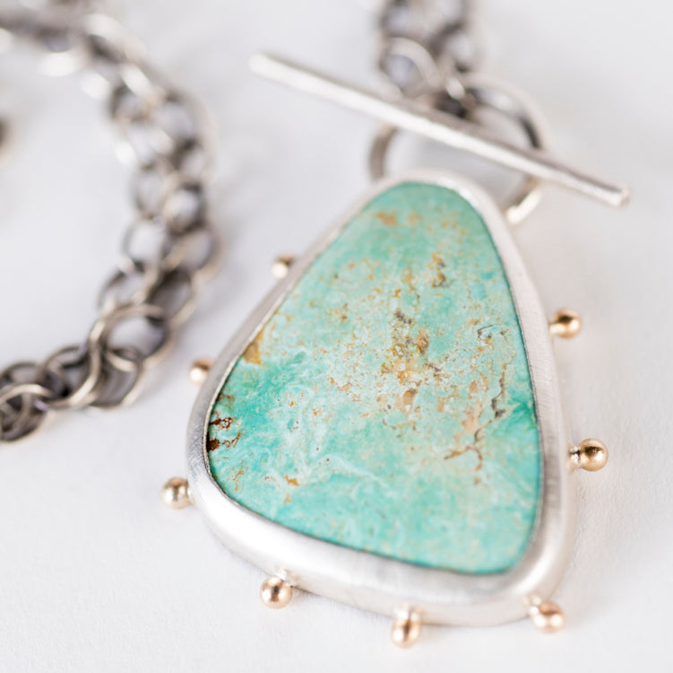 Callisto Royston Turquoise Toggle Pendant in Silver w/ 14k Gold