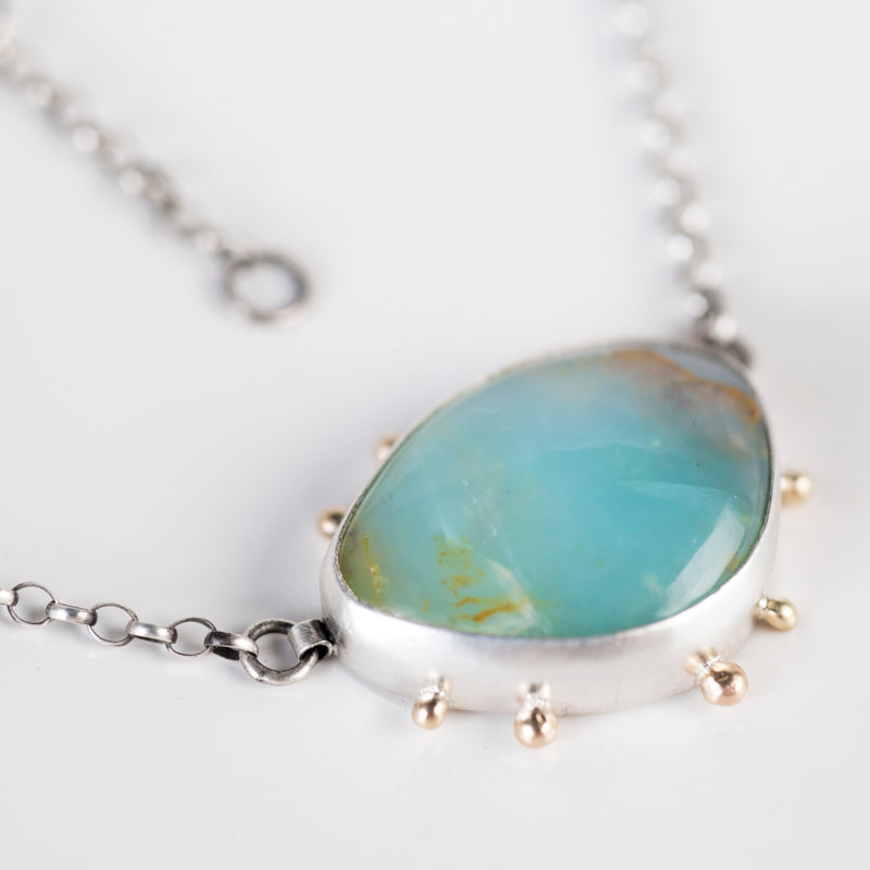 Ceres Peruvian Opal Necklace, Silver w/ 14k Gold Granules