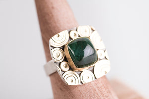 Osaka Blue Green Tourmaline Ring in 18k Gold & Silver - Size 7 1/4