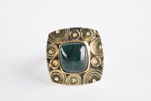 Osaka Blue Green Tourmaline Ring in 18k Gold & Silver-size 7 1/4