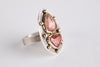 Turin Peach Tourmaline Ring in 18k Gold & Silver -size 7 1/4