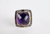 Sendai Checker cut Amethyst Ring in 18k Gold & Silver - size 7