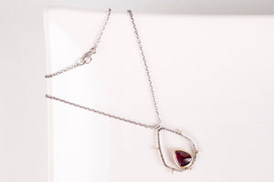 Oberon Rhodolite Garnet Necklace in Gold & Silver