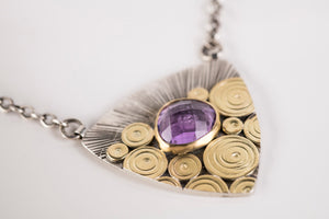 Antigua Amethyst Patchwork Pendant in 18k Gold & Silver
