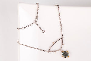 Astraea Moss Aquamarine Necklace in Gold & Silver