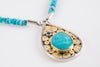 Sumatra Turquoise & London Blue Topaz Necklace in Silver & 18k Gold