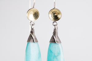 Elsa Amazonite Dangles in Silver & 18k Gold, One of a Kind