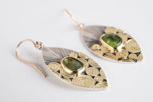 Antigua Green Tourmaline Earrings in Gold & Silver,