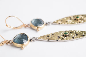 Antilles Moss Aquamarine & Emerald Earrings in Gold and Silver