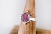 Hailey Watermelon Tourmaline Slice Ring w/ Gold Granule Halo - Size 6 1/4