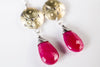 Montego Dangle Earrings w/ Ruby Teardrops in 18k Gold & Silver