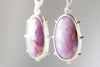 Hailey Pink Sapphire Earrings in Silver Bezel w/ Gold Granule Halo