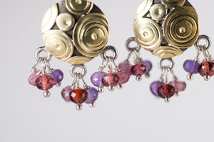 Cozumel Gemstone Tassel Earrings in 18k Gold & Silver
