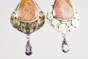 Sumatra Fossil Palm & Amethyst Earrings in Silver & Gold