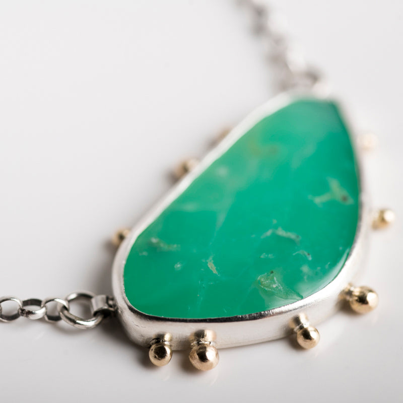 Ceres Chrysoprase Necklace, Silver w/ 14k Gold Granules