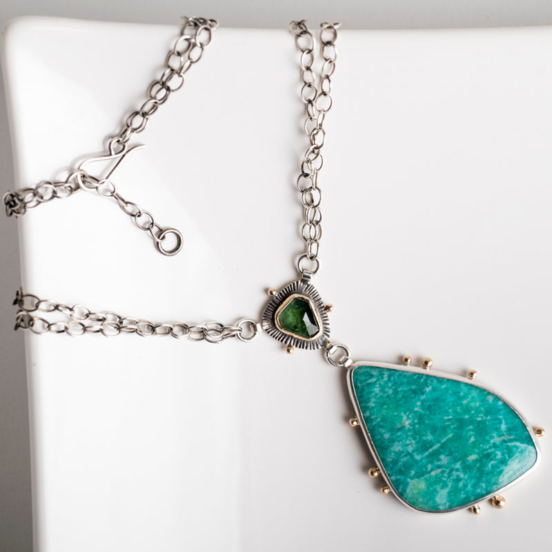 Havana Tourmaline & Amazonite Statement Necklace