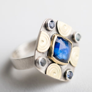 Catalonia Kyanite & Sapphire Ring in Silver & 18k Gold, Size 6 3/4,
