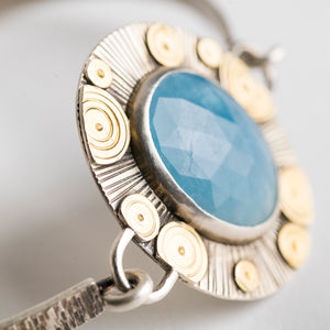 Toledo Aquamarine Tension Cuff Bracelet in Silver and Gold