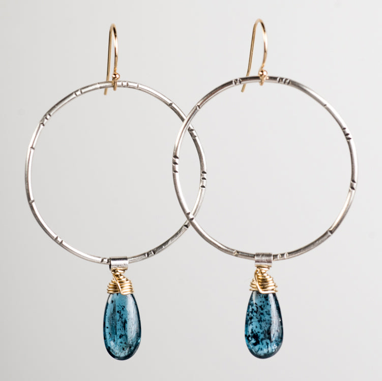Lyra Teal Kyanite Earrings in 14k Gold & Silver - Made to Order