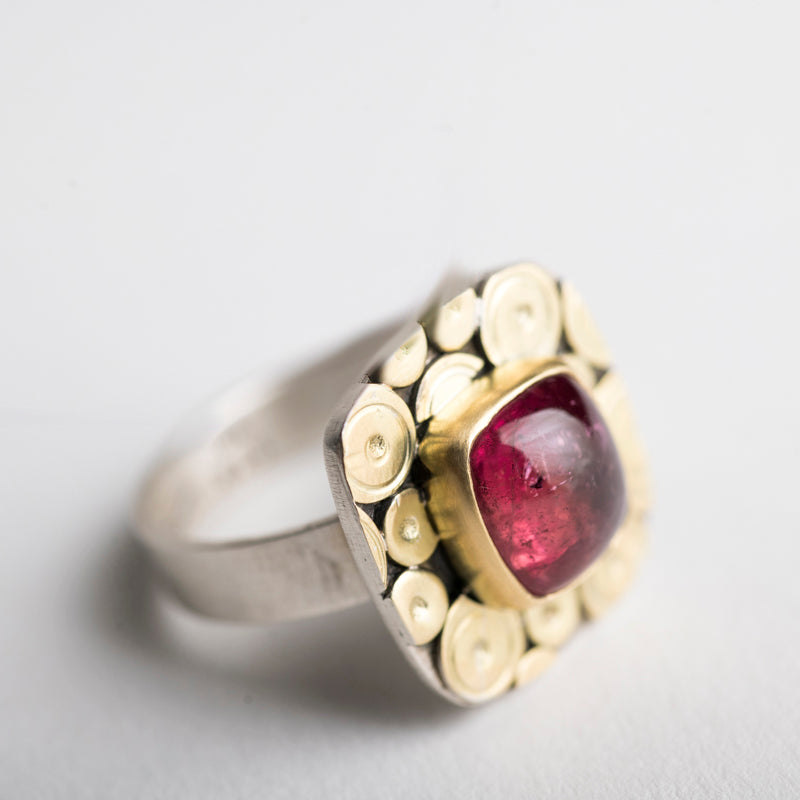 Osaka Pink Tourmaline Ring in 18k Gold & Silver - Size 6 3/4