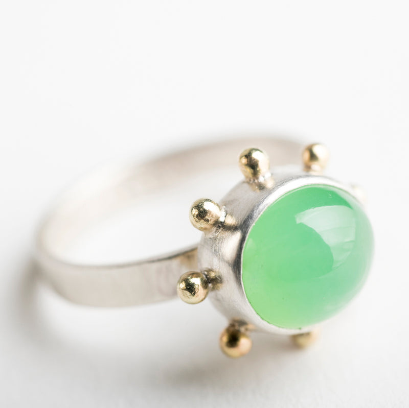 Hailey Chrysoprase Ring w/ Gold Granule Halo in Silver