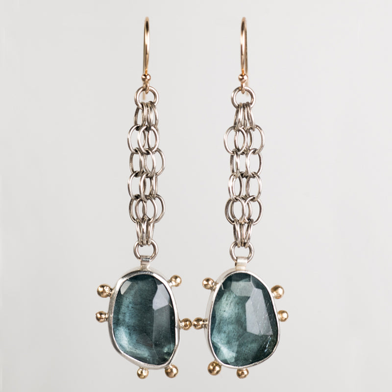 Callisto Moss Aquamarine Long Dangle Earring