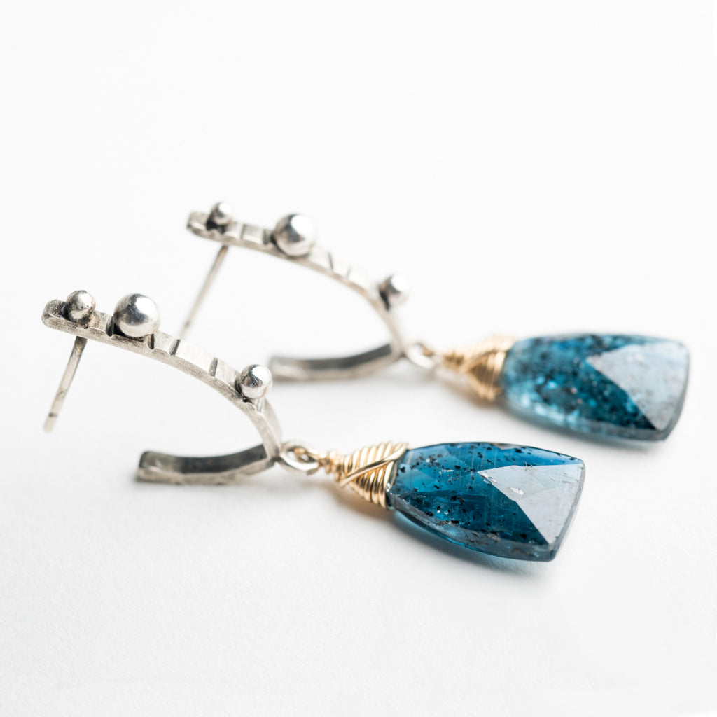 Keira Teal Kyanite Mini Hoop Earrings