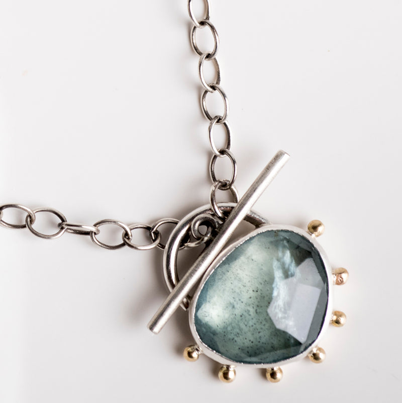 Callisto Moss Aquamarine Toggle Pendant in Silver w/ 14k Gold